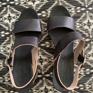 Timberland black wedges, worn once, like new